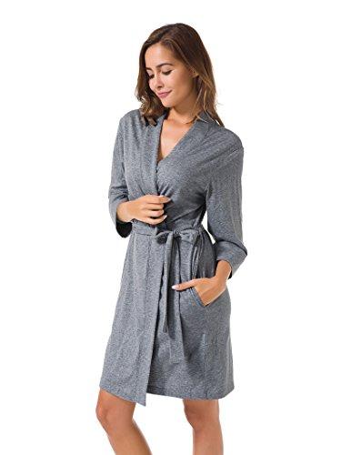 SIORO Damen Morgenmäntel Baumwolle Bademäntel Nachtwäsche kurz Nachthemden Schlafanzüge,Stahl Grau ()