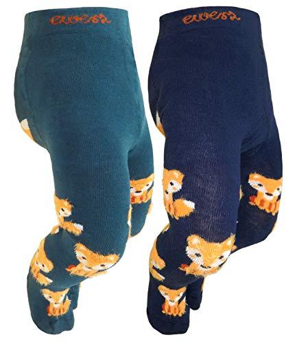 EveryKid Ewers 2er Pack Babystrumpfhose Sparpack Jungenstrumpfhose Strumpfhose Markenstrumpfhose ganzjährig Fuchs Babys (EW-905057-W18-BJ1-1119-1121-56) in Jade-Tinte, Größe 56 inkl Fashionguide - Niedliche Strumpfhose Strumpfwaren