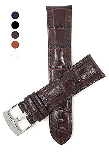 Extra Lang (XL) Leder Uhrenarmband 24mm für Herren, Braun, Hochglanzoberfläche, Alligatormuster, auch verfügbar in schwarz, weiß, königsblau und hellbraun