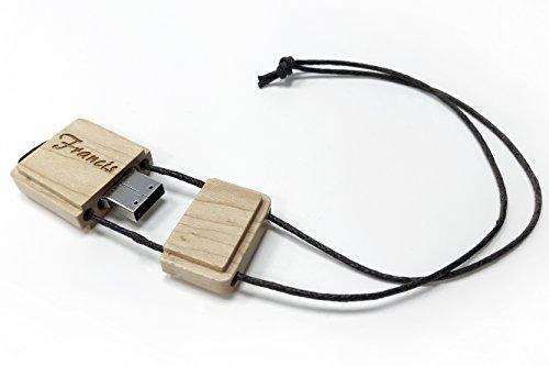 Holz USB-Stick mit Gravur Name graviert, Lasergravur, Speicherstick 16 GB, Geschenk zum Abitur, Studium, Geburtstag, Schule, Arbeit, Büro