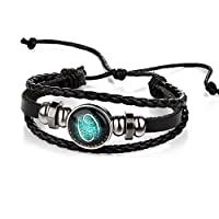 RuleaxAsi Twelve Constellations Bracelet Hand-woven Vintage Leather Wristband Fashionable Stylish Zodiac Constellation Astrology Braided Bracelets for Men and Women
