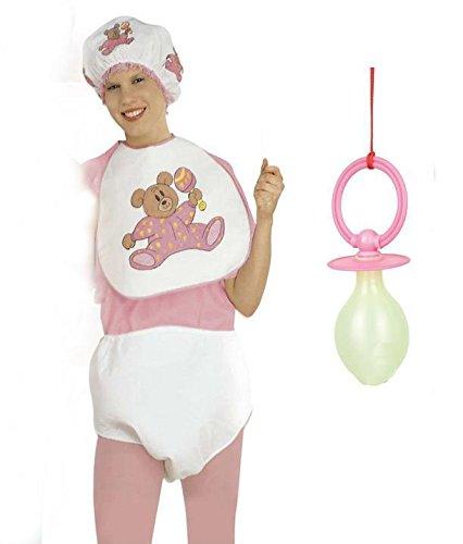 Erwachsene Baby Kostüm Rosa mit Windel Lätzchen Babymütze und Riesen Quietscher Schnuller Junggesellenabschied Fasching Karneval