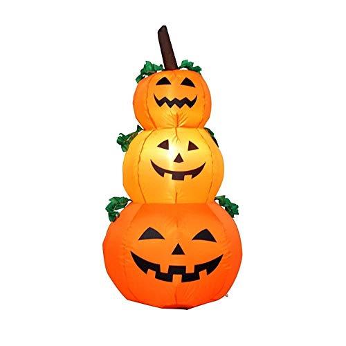 QTRT 120cm Halloween Aufblasbare Blow Up Stacked Pumpkins, 3 Jack-O-Laternen-Kürbis-Halloween-Kürbis-Schlauchboot mit Licht for Halloween im Freien, Garten, Rasen-Yard-Dekoration