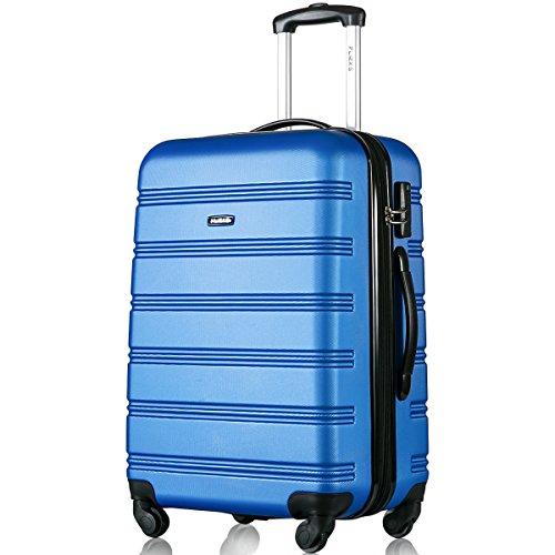 Hartschale Trolley Koffer Reisekoffer Zwillingsrollen Reisekoffer mit Zahlenschloss Handgepäck mit 4 Doppel-Rollen, XL-L-M (L, Pink)