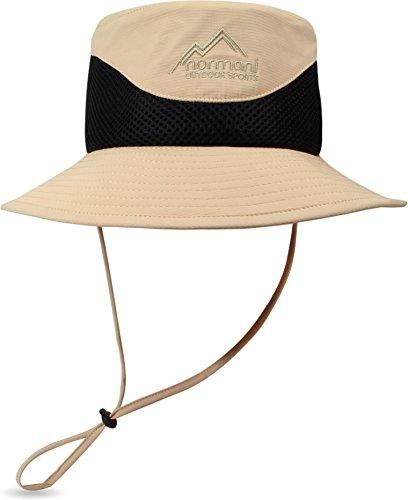 normani Unisex Sonnenhut für Damen und Herren Safari Sonnenschutz Kopfbedeckung Outdoor Buschhut [S-XL] - mit 360° Netzfutter in Hutkrone Farbe Khaki/Schwarz Größe 61/XL (Damen-xl-sonnenhut)