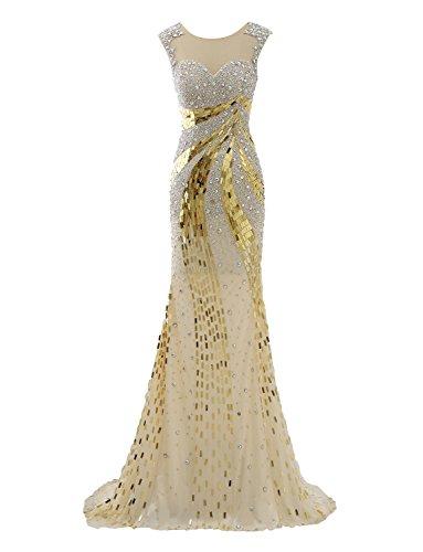 Izanoy Damen Lange Luxus Kristall Meerjungfrau Sexy Zurück Ballkleider Tüll Abendkleid Gold DE34