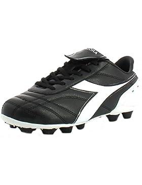 Diadora - Botas de fútbol de Piel para niño negro negro