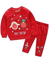 Unisex Baby Christmas Deer Muñecos De Nieve Patrón De Letras Juego De Sudaderas De 2 Piezas, De Manga Larga con Cuello Redondo Jersey Y Pantalones