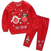 Infant Boys Girls Cartoon Christmas Suit, O-Cuello De Manga Larga Camiseta Y Sonrisa De La Cara Pantalones, Festival De Nieve Patrón De Pijamas