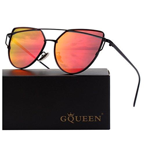 1ced8232f2e1f3 GQUEEN Mode Polarisierte übergroße Katzenaugen CatEye Sonnenbrille Damen  Frau Gespiegelte Verspiegelt Linse Metallrahmen Cat Eye Sunglasses