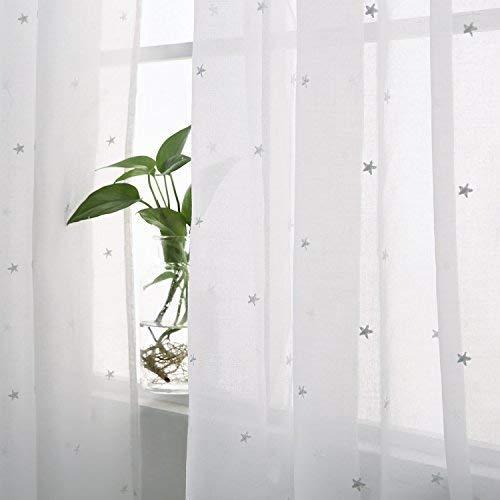 Deconovo Voile Gardinen mit Schlaufen Vorhang Gardinenschals Transparent mit Stickerei Kinderzimmer Leinenoptik 245x140 cm Weiß Stern