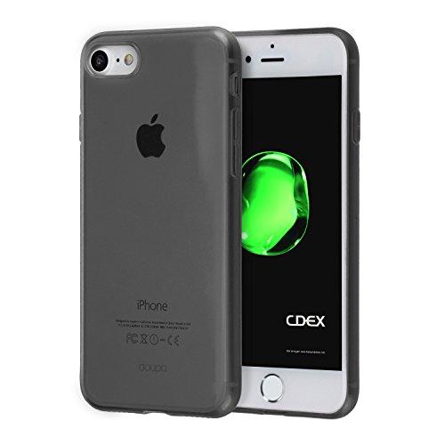 doupi UltraSlim Hülle für iPhone 8/7 (4,7 Zoll), Ultra Dünn Clear Farbe TPU Glatte rutschfeste Handyhülle Cover Bumper Soft Case Taschenschutz Design Schutzhülle, schwarz -