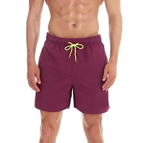 anqier Badeshorts für Männer Badehose für Herren Jungen Schnelltrocknend Schwimmhose Strand Shorts (Weinrot, XL(EU)-MarkeGröße:XXXL-Taille 98-106cm)