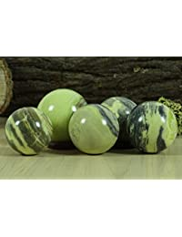 Reikiera Crystal Healing Serpentine Stone Ball Natural Gemstone Sphere With Ring Stand Reiki Table Decor- Choose Size