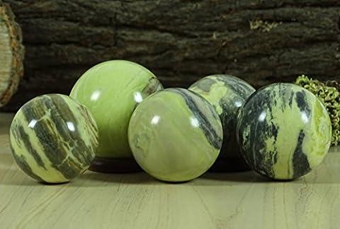 Reikiera Crystal Healing Serpentine Pierre Boule Gem PIERRE Sphère Naturel Avec Anneau Stand Reiki Table Decor- Choisissez