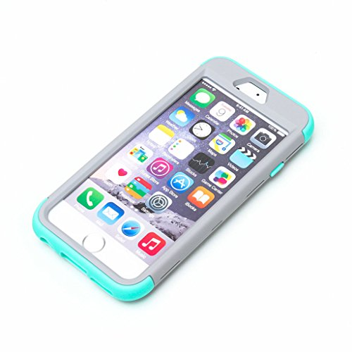 JNTworld iphone 6 6s Case Couleurs mélangées antichoc Dur Silicone Protecteur, 4.7'', Gray&Bleu Gray&Vert