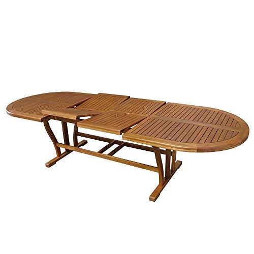 MilaniHome Tavolo Ovale Allungabile in Legno di Acacia 200/300 X 110 per Esterno Giardino Portico Ristorante Bar Hotel Albergo Agriturismo