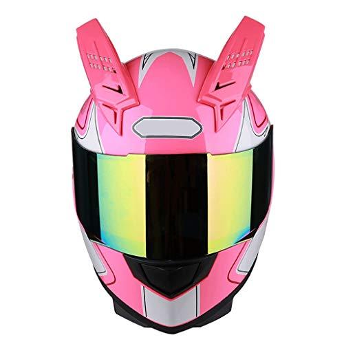 GDSTOU Abnehmbarer Helm Motorrad Außenreit Bunter Anti-Fog-Spiegel Integralhelm Schwarz Rot Teufelhorn (Color : Pink Devil, Size : L)