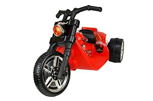 #Kinderfahrzeug – Elektro Kindermotorrad- Chopper – 2 Motoren – 6V7Ah- Scheinwerfer – Stoßdämpfer (Rot)#