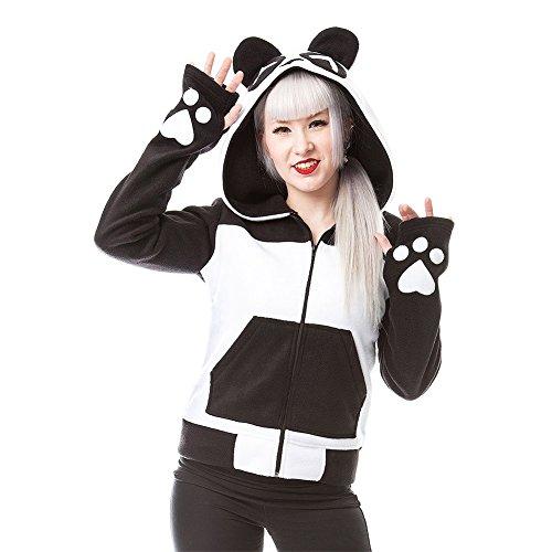 Felpa Con Cappuccio Killer Panda Fleece Split Up (Nero/Bianco) - Medium