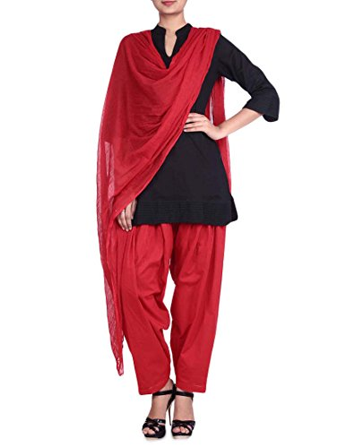 Stylenmart Red Semi Patiala Salwars and Dupatta Set