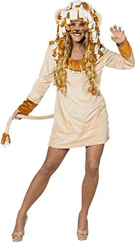 Orlob Damen Kostüm Löwe Löwin Kleid mit Kapuze Karneval Fasching Gr.38/40