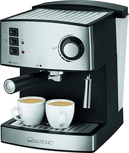 Clatronic Il 3643 Machine expresso acier inoxydable Front, pression de vapeur 15 bar, 1,6 l, réservoir à eau amovible Noir/Inox