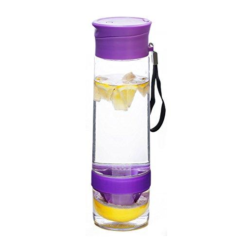 YOKO DESIGN 1432Flasche Detox mit Zitruspresse Kunststoff 26,7x 7,5x 7,5cm, Kunststoff, Violett, 26,7 x 7,5 x 7,5 cm