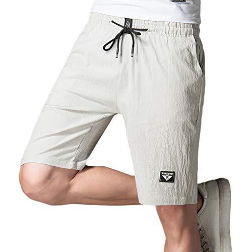 Shorts Herren Sommer Bettwäsche Aus Baumwolle Solide Täglich Beiläufig Hose - Täglichen Baby Bootie