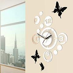 Idea Regalo - Jago Orologio da Parete con Farfalle | con 3 Adesivi, Design Moderno, Effetto Specchio | Decorazione per la Casa