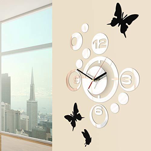 Jago Orologio da Parete con Farfalle | con 3 Adesivi, Design Moderno, Effetto Specchio | Decorazione per la Casa