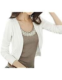 Primavera Otoño Mujer Corto Cárdigans Manga Larga Ropa de Abrigo Blusa Cardigan Moda Outerwear Camisas Bolero