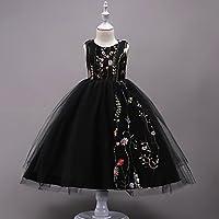 RENQINGLIN Mädchen Geburtstag, Feste Luxus Kleid, Baumwolle Polyester Sommer Ärmelloses Süße Prinzessin Blau Weiß Schwarz Rot Rot Rosa