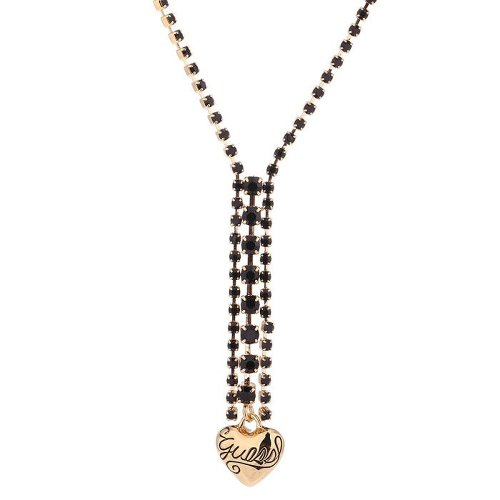 Guess Damen-Halsband Edelstahl rhodiniert Kristall Zirkonia schwarz UBN81026