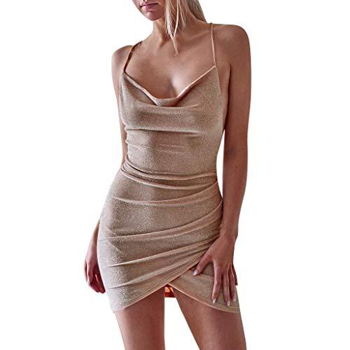 Mini-tee-party-kleid (Go First Kleider Frauen Sexy Sling Rückenfrei Ärmellose Mini Dress Mode Unregelmäßigen Verband Bodycon Club Party Dress (Color : Khaki, Size : Large))