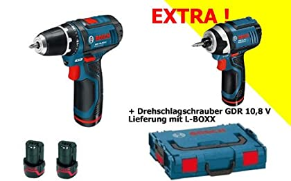 BOSCH GSR 10.8 GDR 10.8 - Kit de atornillador taladrador a batería, atornillador de impacto a batería, 2 baterías, maletín de transporte y caja de puntas de seguridad (31 piezas)