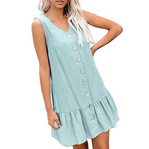 AZZRA Damenmode V-Ausschnitt Ärmelle Knopftaschen Reine Farbe Lose Sommer Minikleid Damen Elegant Ärmellos V-Ausschnitt Spitzenkleid Brautjungfer Partykleid - L/s Western Shirt