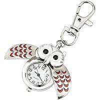 Reloj Llavero de Bolsillo Animal de Dibujos Animados, LILICAT® Reloj de Cuarzo de Moda Hermosa, Regalo para Mujeres Hombres (Talla única, ❤️ Rojo)
