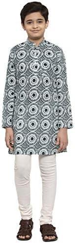 NEUDIS by Dhrohar Cotton Printed Long Kurta & Churidar Pajama Set For Boys - O