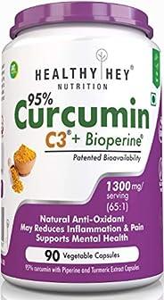HealthyHey Nutrition Curcumin with Bioperine, Organic Turmeric, 90 Vegetable Capsules with Piperine, Non-GMO &