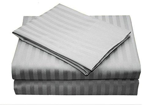 Linenwalas All Season Striped Cotton Double Duvet Cover - Squirrel Grey
