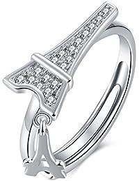624af046529e Plata de Ley 925 circonitas cúbicas de la torre Eiffel anillo ajustable