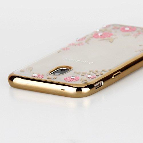 Galaxy J5 2017 Hülle,Galaxy J5 2017 Silikon Hülle,JAWSEU Schutzhülle Samsung Galaxy J5 2017 Hülle [Glitzer Strass Ring Stand Holder], Luxus Glitzer Bling Diamant Strass Spiegel TPU Case für Samsung Ga Rosa Blumen Gold