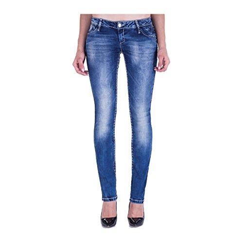 & cipo baxx stitch jean pour femme big blanc pantalon bleu Bleu - Bleu