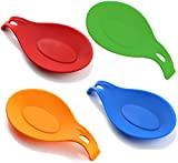 iNeibo Kitchen Silicone Spoon Rest Set - 4 Pieces Jumbo Spoon Rest Set With Varying Bright Jelly Colors - FDA-approved, Soft & Unbreakable, Heat Resistant & Odor Resistant - Use for Resting Kitchen Utensil, Spoon, Spatula, Brush, Cutlery And So On(red/orange/blue/green)