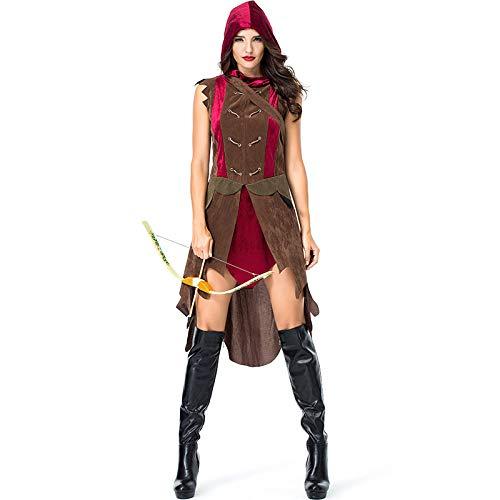 Vampir Jägerin Kostüm - QLQGY Frauen Bogenschütze Jägerin Kostüm Kleid Halloween Purim Karneval Kostüme mit Pfeil Tasche, M