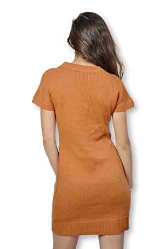 Robe en maille tricotée B.YOUNG manches courtes fin de collection Orange