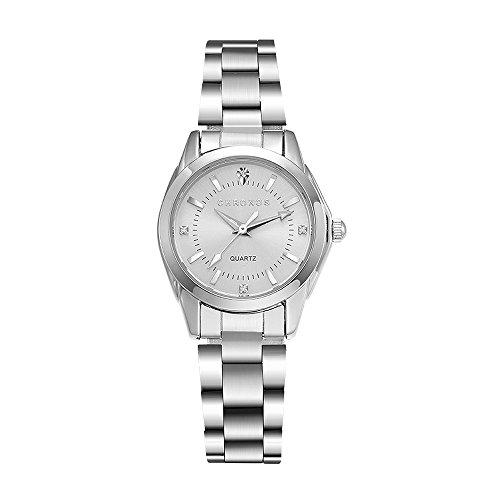 CHRONSO Frauen Analoge Japanische Quarzwerk Uhr mit Edelstahl Band Mode Luxus Silber Ton Dame Uhren (Uhren Frauen Luxus Mode)
