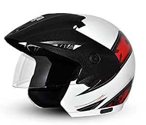 Vega Cruiser Open Face Graphic Helmet with Peak Arrows (White and Red , S)
