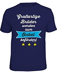 RAHMENLOS Original Geschenk-T-Shirt für den frisch gebackenen Onkel: Großartige Brüder werden zum Onkel befördert